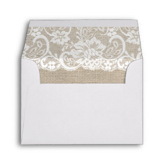 White Lace & Burlap Rustic RSVP Wedding Envelope