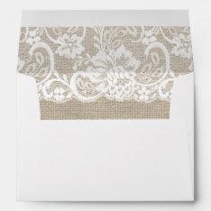 White Lace & Burlap Rustic Wedding Invite Envelope at Zazzle