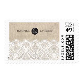 White Lace & Burlap Wedding Postage Stamp