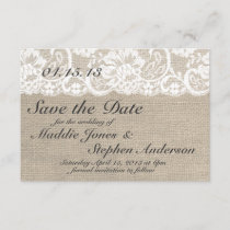 White Lace & Burlap Wedding Save the Date