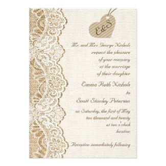 White lace & cardboard heart on burlap wedding