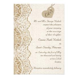 White lace & cardboard heart on burlap wedding card