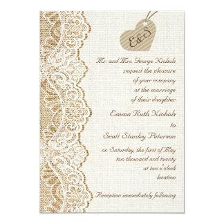 "White lace & cardboard heart on burlap wedding 5"" x 7"" invitation card"