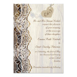 White lace & cardboard heart on wood wedding 5x7 paper invitation card