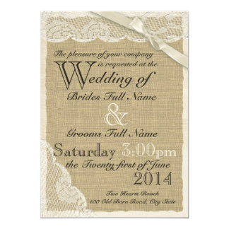 White Lace Country Wedding 5x7 Paper Invitation Card