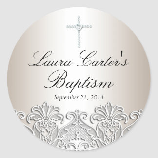 White Lace & Cross Baptism Sticker
