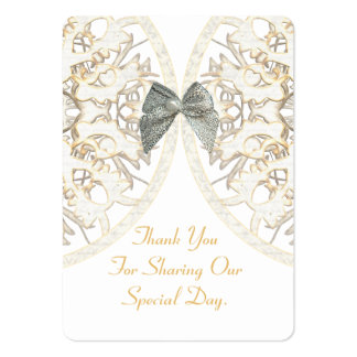 White lace damask wedding favor thank you tag large business cards (Pack of 100)