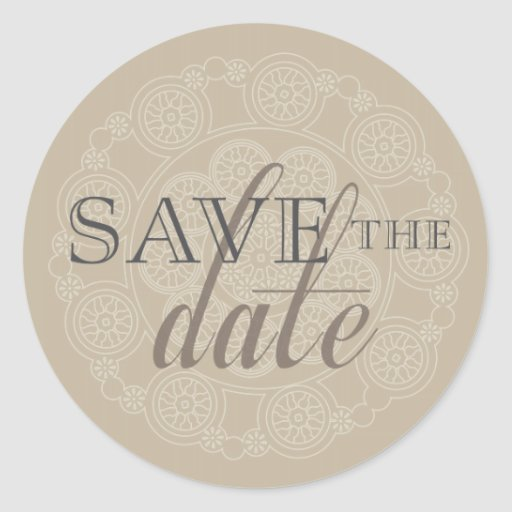 White Lace Doily Save the Date Wedding Stickers