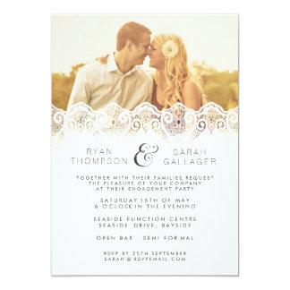 White Lace Engagement Wedding Photo Invite