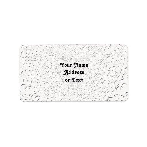 White Lace Fabric Image  Background Custom Address Label
