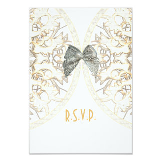 White lace filigree antique damask wedding R.S.V.P 3.5x5 Paper Invitation Card