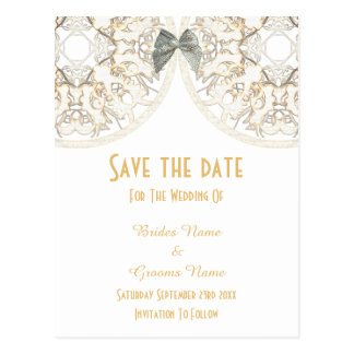 White lace filigree damask save the date postcard