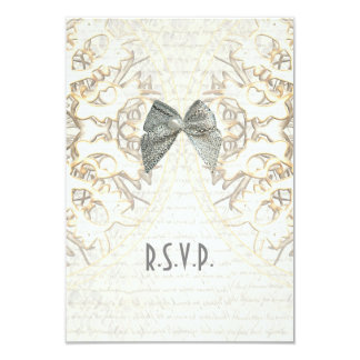White lace filigree old parchment wedding R.S.V.P Card