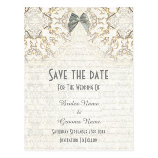 White lace filigree parchment save the date postcard
