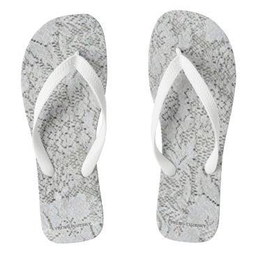 Beach Themed White Lace Flip Flops