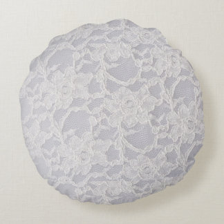 White Lace Flower Lace Pattern Background Pure Round Pillow