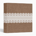 White Lace Flower Ribbon on Burlap - Shabby Chic 3 Ring Binders