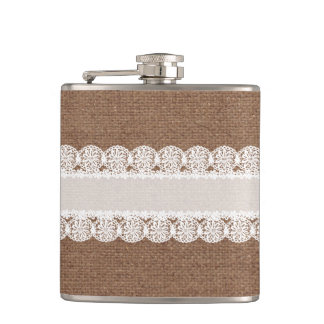 White Lace Flower Ribbon on Burlap - Shabby Chic Flask