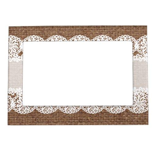 White Lace Flower Ribbon On Burlap Shabby Chic Photo Frame Magnets Zazzle