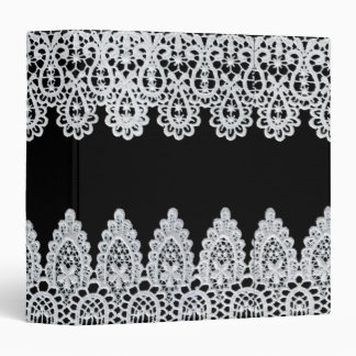 White lace forms a delicate border against black binder