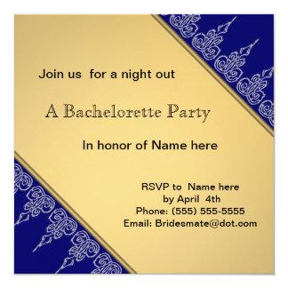 White lace gold bachelorete party invitation