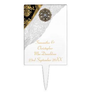 White lace, gold black traditional damask wedding cake topper