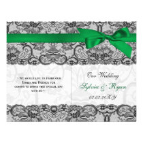 white lace,green ribbon book fold Wedding program