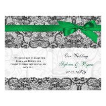 white lace,green ribbon book fold Wedding program