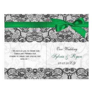 """white lace,green ribbon book fold Wedding program 8.5"""" X 11"""" Flyer"""