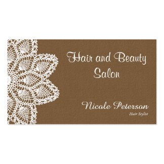 White Lace - hair and beauty salon - Brown Business Card