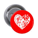 White lace heart (customizable background color) pin