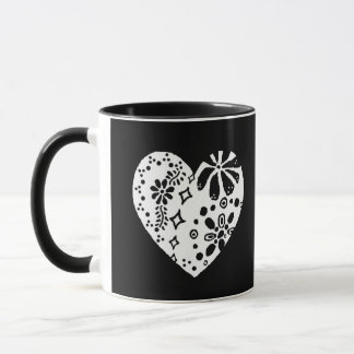 White lace heart (customizable background color) mug