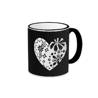 White lace heart (customizable background color) coffee mugs