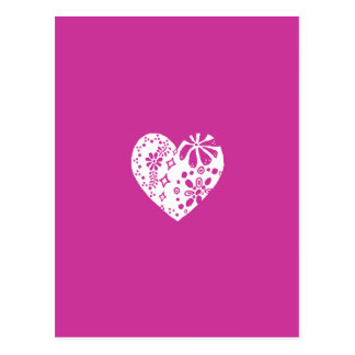 White lace heart (customizable background color) post cards