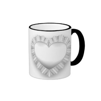White Lace Heart Customizable Ringer Mug