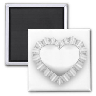 White Lace Heart Magnet