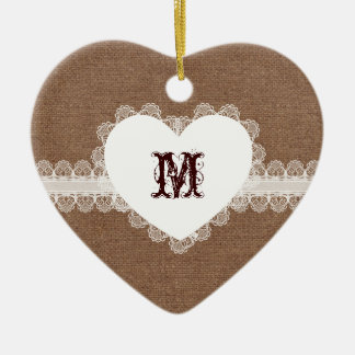 White Lace Heart Monogram on Burlap - Shabby Chic Double-Sided Heart Ceramic Christmas Ornament