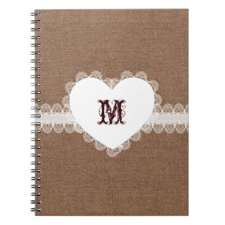 White Lace Heart Monogram on Burlap - Shabby Chic Spiral Note Book