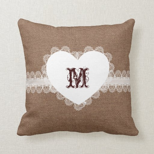 Shabby Chic Cottage Pillows : White Lace Heart Monogram on Burlap - Shabby Chic Throw Pillow Zazzle