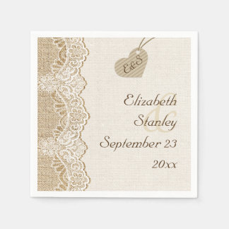 White lace & heart on burlap rustic wedding napkin