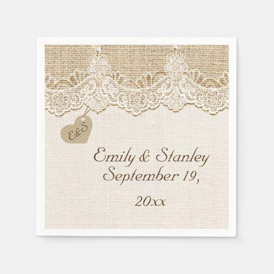 Rustic Wedding Napkins: White Lace & Heart On Burlap Rustic Wedding Napkin