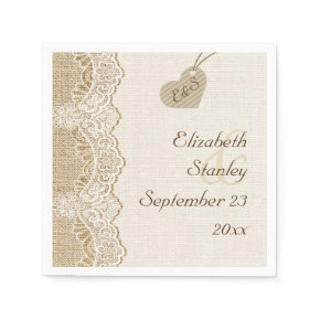 White lace & heart on burlap rustic wedding standard cocktail napkin