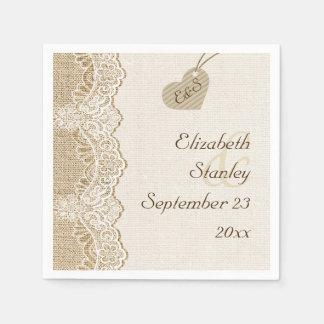White lace & heart on burlap rustic wedding paper napkin