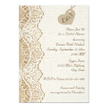 White lace & heart on burlap wedding bridal shower personalized announcement