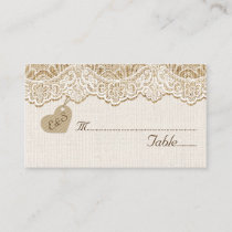 White lace & heart on burlap wedding place card