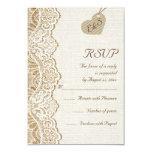White lace & heart on burlap wedding RSVP Custom Invites
