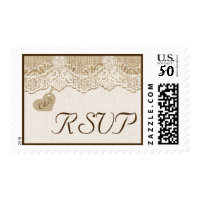 White lace & heart on burlap wedding RSVP Postage