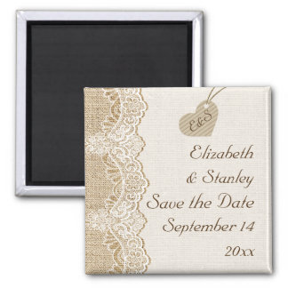 White lace & heart on burlap wedding Save the Date 2 Inch Square Magnet