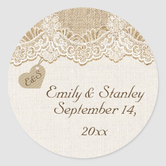 White lace & heart on burlap wedding Save the Date Classic Round Sticker
