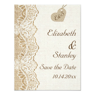 White lace & heart on burlap wedding Save the Date 4.25x5.5 Paper Invitation Card